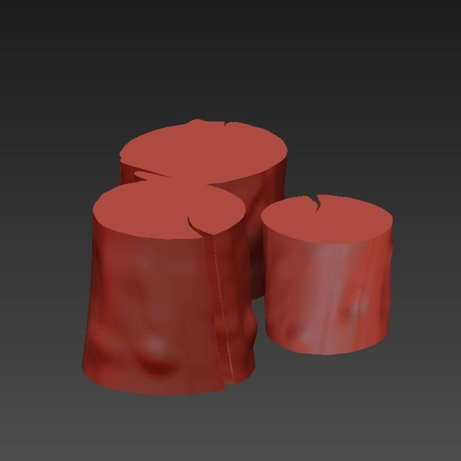 3つの暗いコーヒーテーブルの切り株 royalty-free 3d model - Preview no. 12