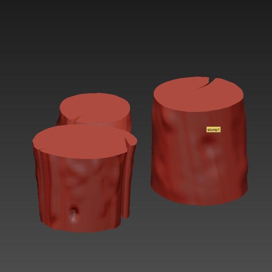 3つの暗いコーヒーテーブルの切り株 royalty-free 3d model - Preview no. 18