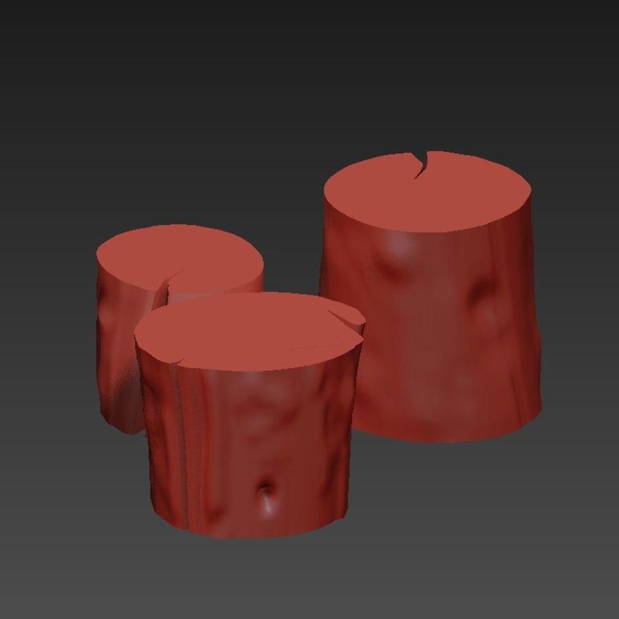 3つの暗いコーヒーテーブルの切り株 royalty-free 3d model - Preview no. 19