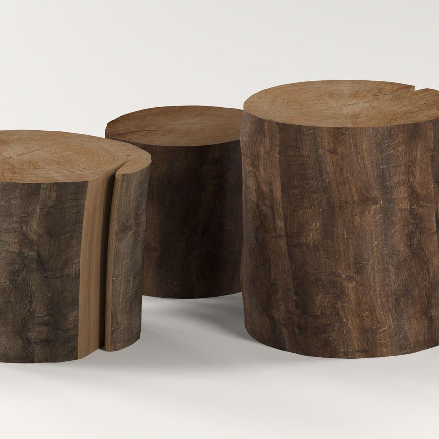 3つの暗いコーヒーテーブルの切り株 royalty-free 3d model - Preview no. 2
