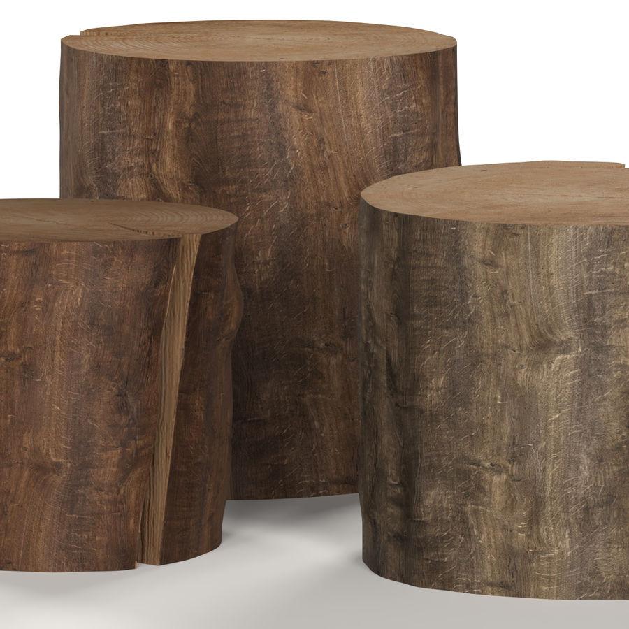 3つの暗いコーヒーテーブルの切り株 royalty-free 3d model - Preview no. 5
