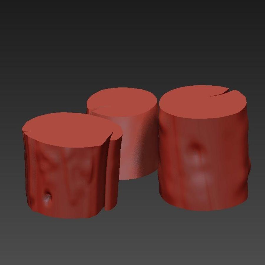 3つの暗いコーヒーテーブルの切り株 royalty-free 3d model - Preview no. 17