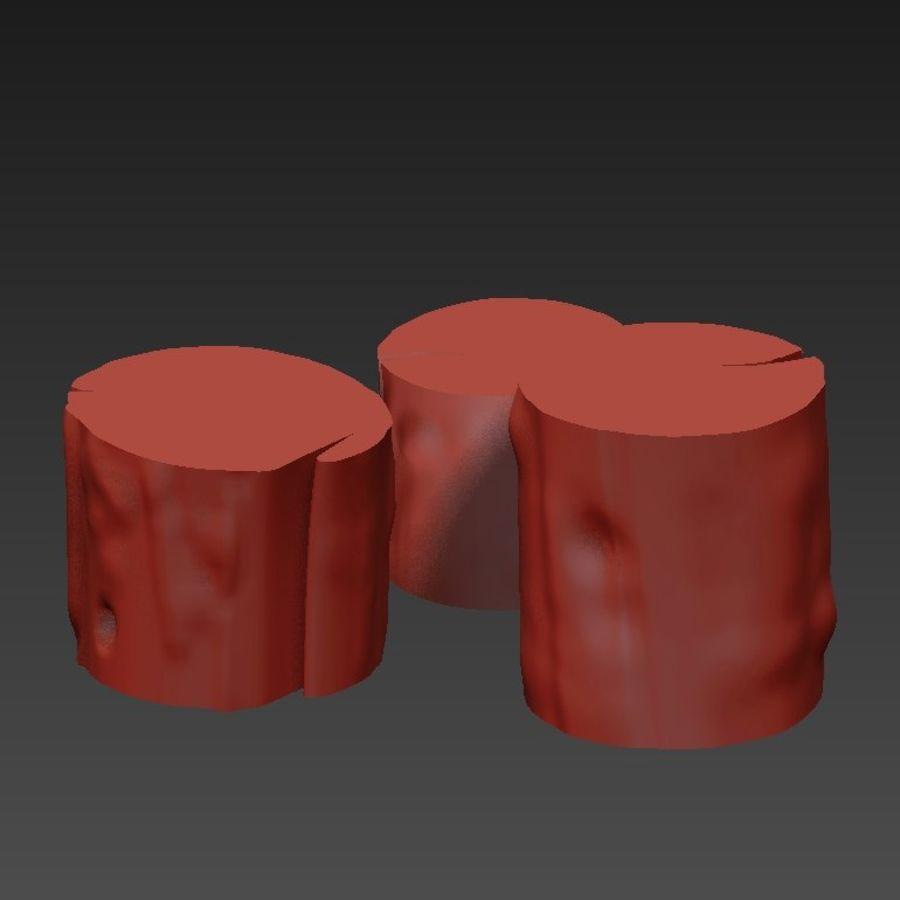 3つの暗いコーヒーテーブルの切り株 royalty-free 3d model - Preview no. 16