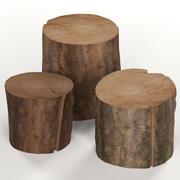 Three dark coffee table stumps 3d model
