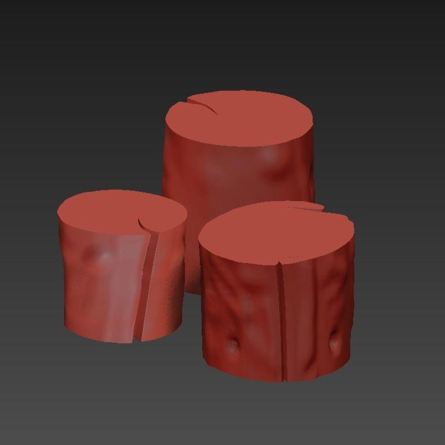 3つの暗いコーヒーテーブルの切り株 royalty-free 3d model - Preview no. 21