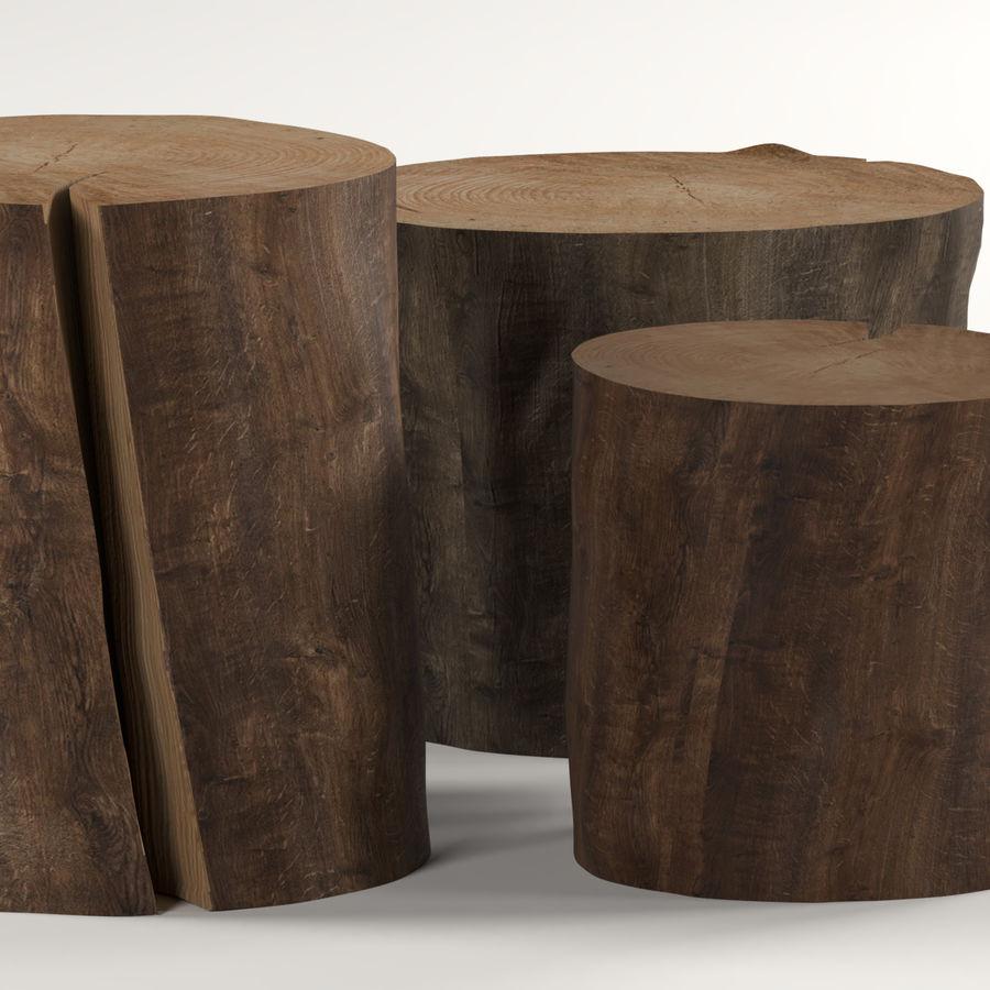 3つの暗いコーヒーテーブルの切り株 royalty-free 3d model - Preview no. 4