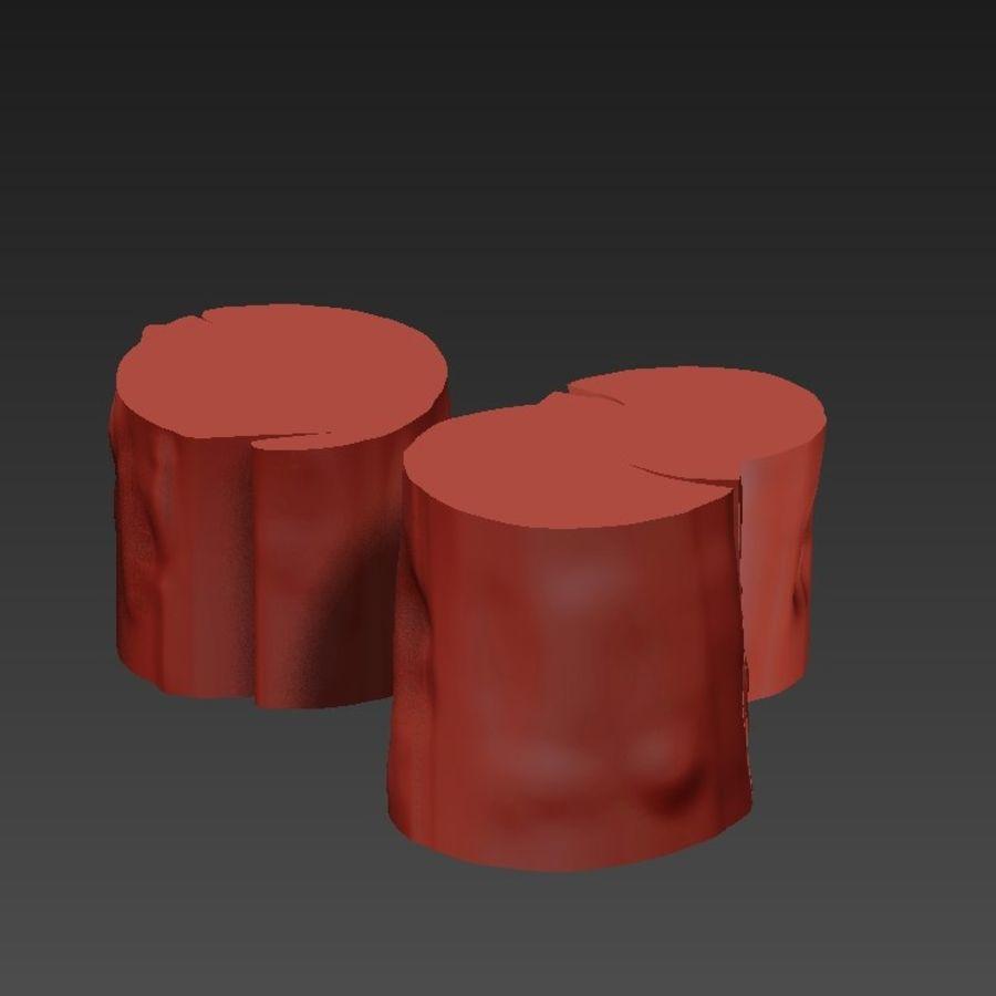 3つの暗いコーヒーテーブルの切り株 royalty-free 3d model - Preview no. 14