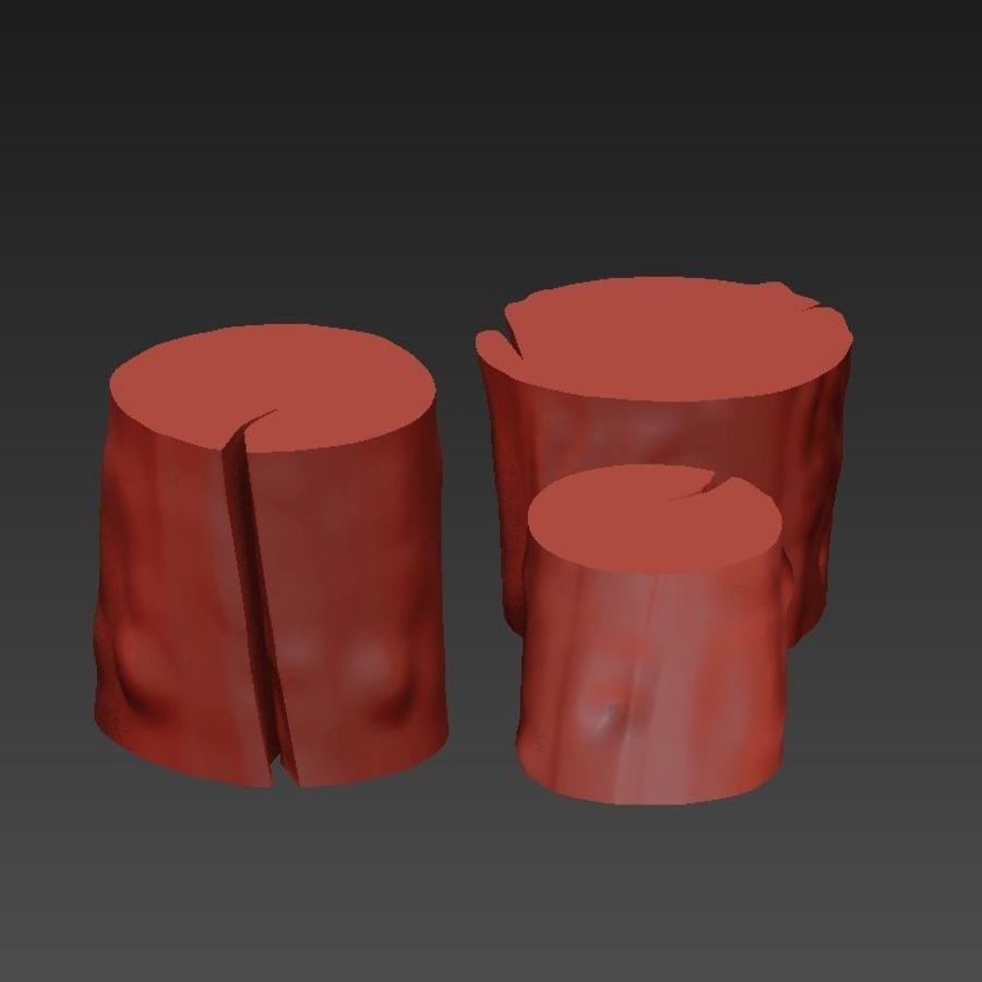 3つの暗いコーヒーテーブルの切り株 royalty-free 3d model - Preview no. 10