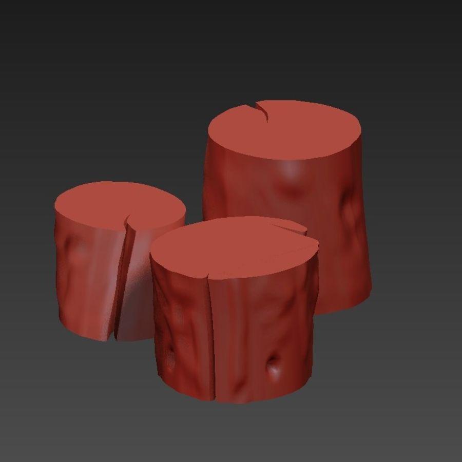 3つの暗いコーヒーテーブルの切り株 royalty-free 3d model - Preview no. 20