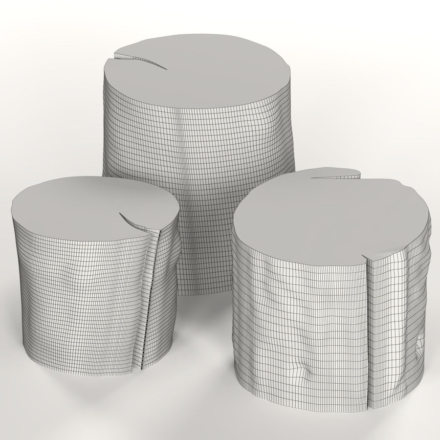 3つの暗いコーヒーテーブルの切り株 royalty-free 3d model - Preview no. 6