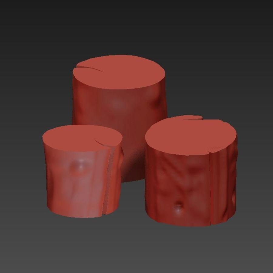 3つの暗いコーヒーテーブルの切り株 royalty-free 3d model - Preview no. 22
