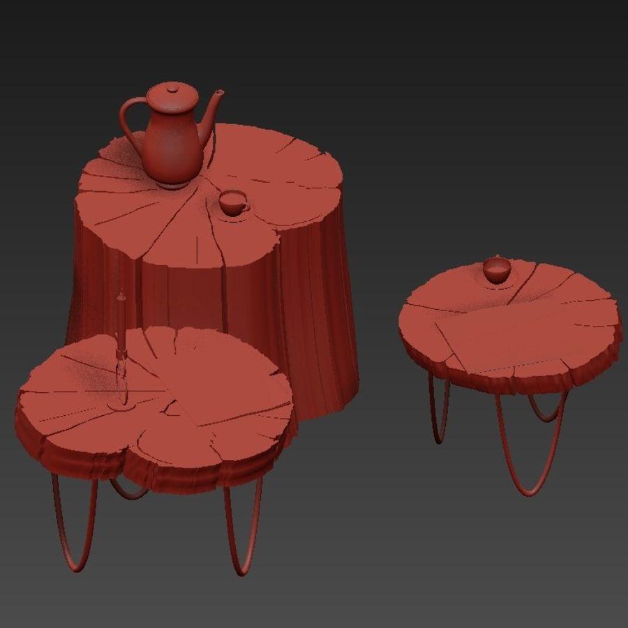석판과 그루터기 커피 테이블 royalty-free 3d model - Preview no. 11
