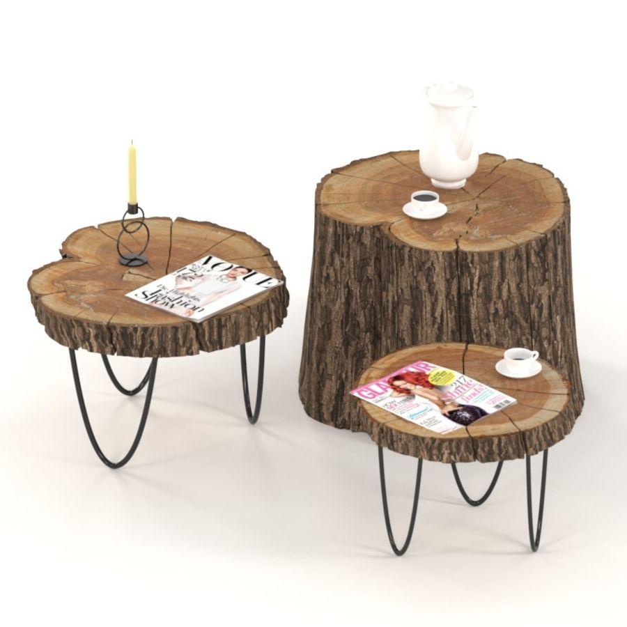 석판과 그루터기 커피 테이블 royalty-free 3d model - Preview no. 1