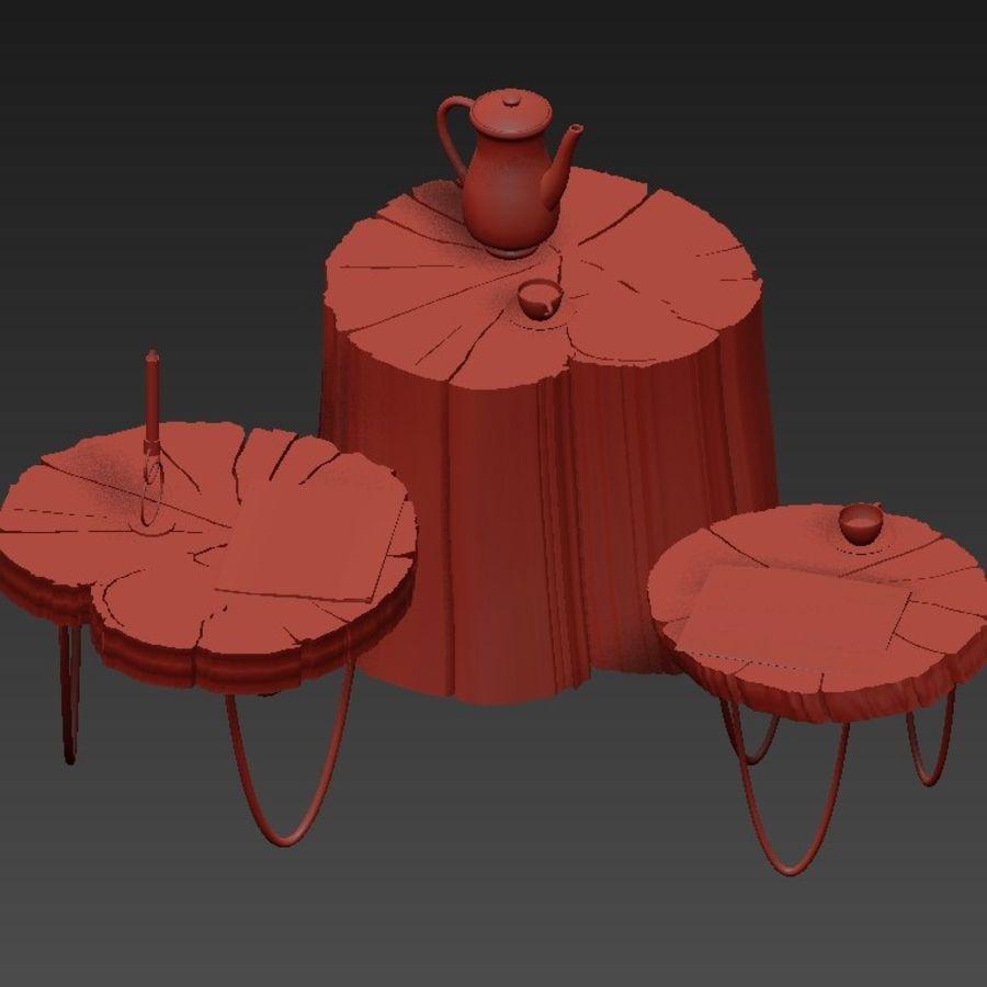 석판과 그루터기 커피 테이블 royalty-free 3d model - Preview no. 8
