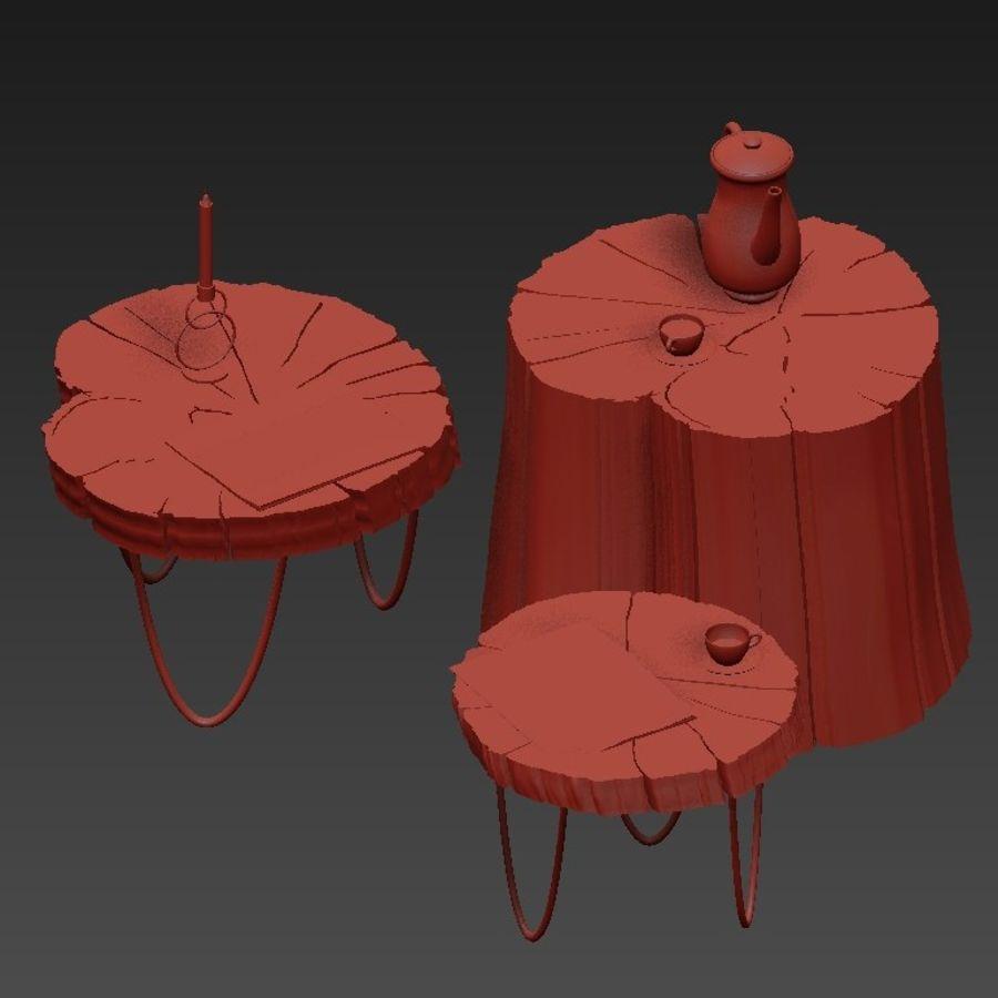 석판과 그루터기 커피 테이블 royalty-free 3d model - Preview no. 4