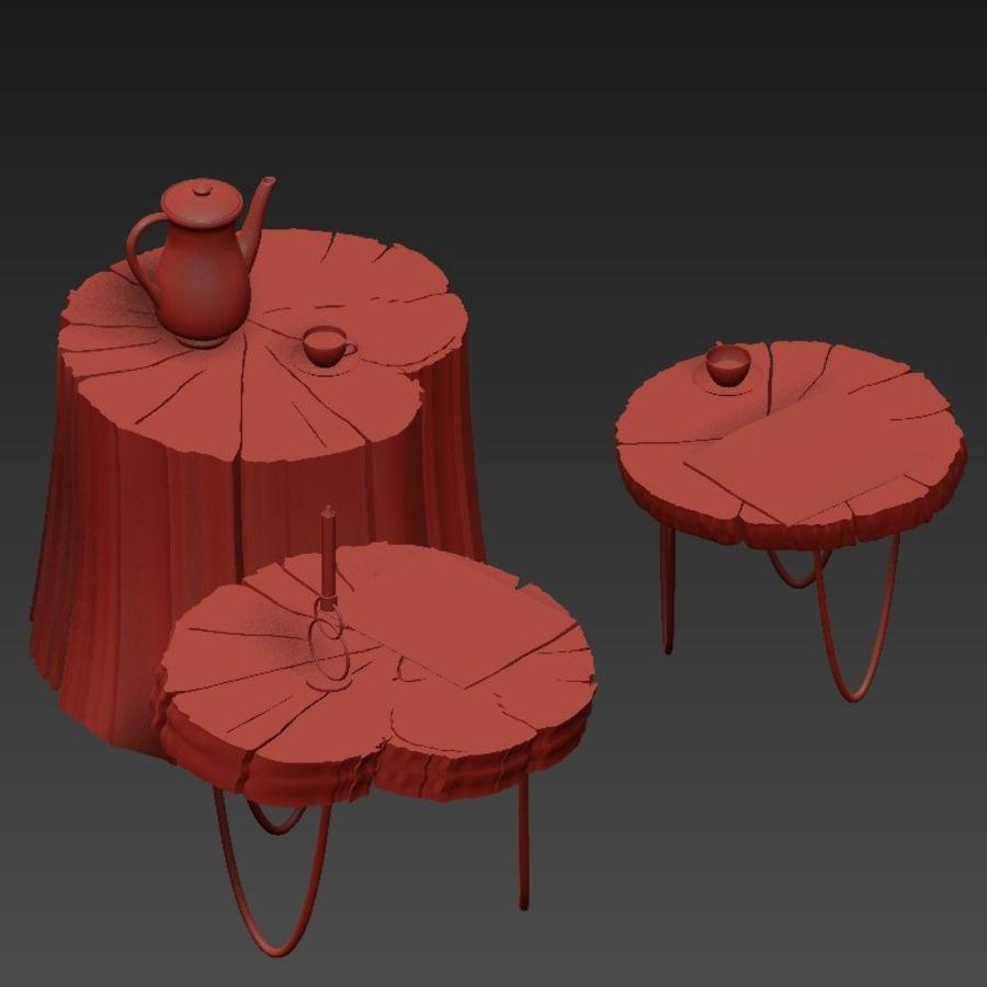 석판과 그루터기 커피 테이블 royalty-free 3d model - Preview no. 13