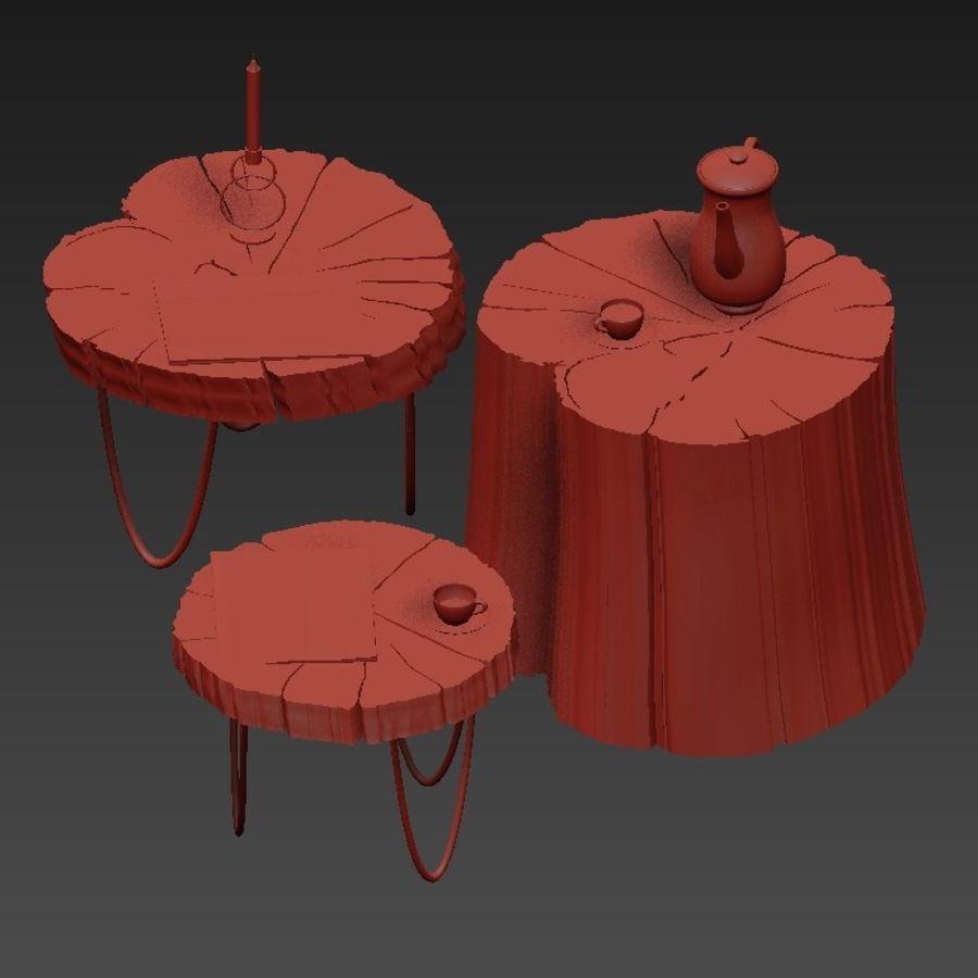 석판과 그루터기 커피 테이블 royalty-free 3d model - Preview no. 34
