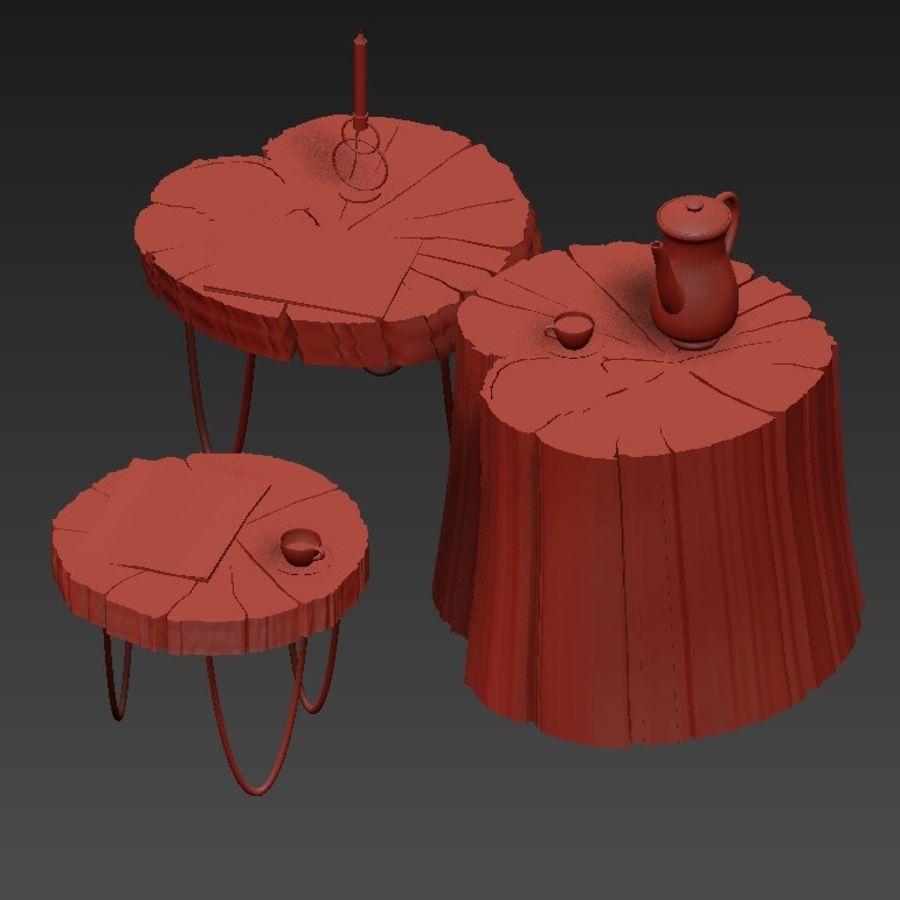 석판과 그루터기 커피 테이블 royalty-free 3d model - Preview no. 32