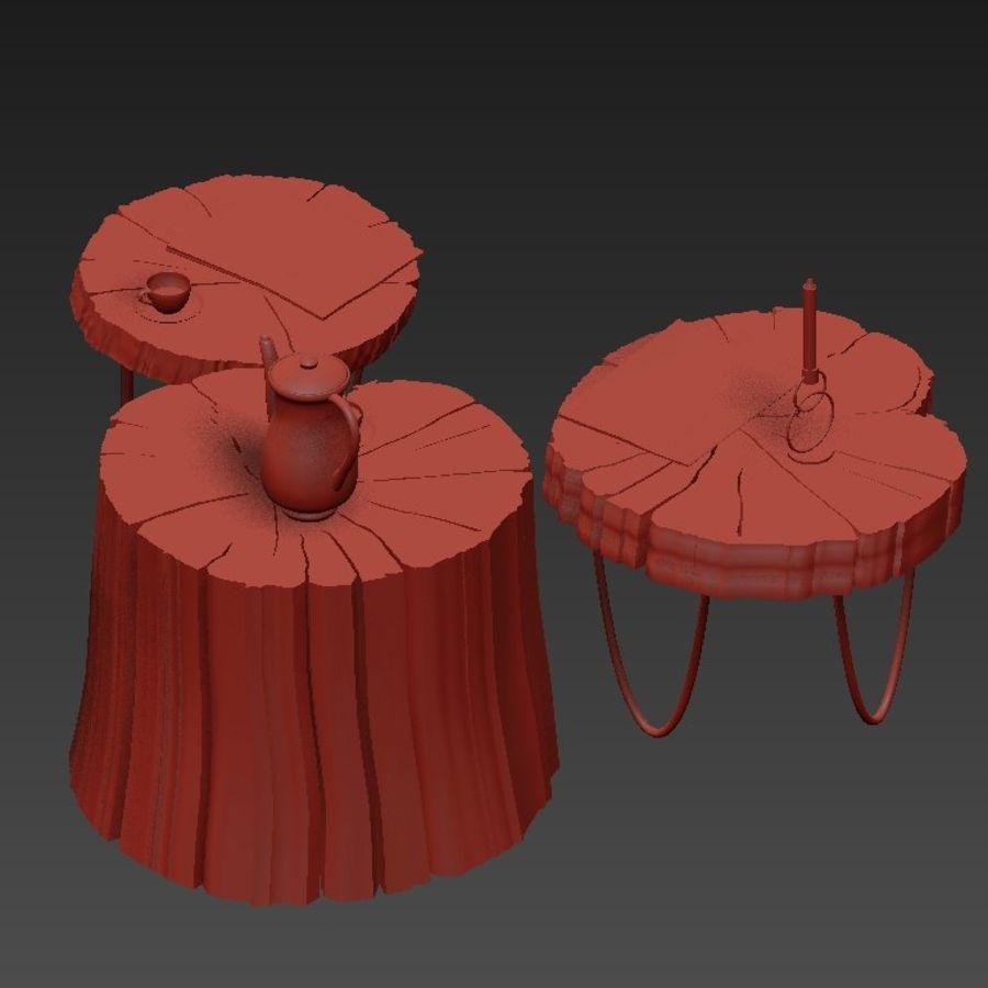 석판과 그루터기 커피 테이블 royalty-free 3d model - Preview no. 22