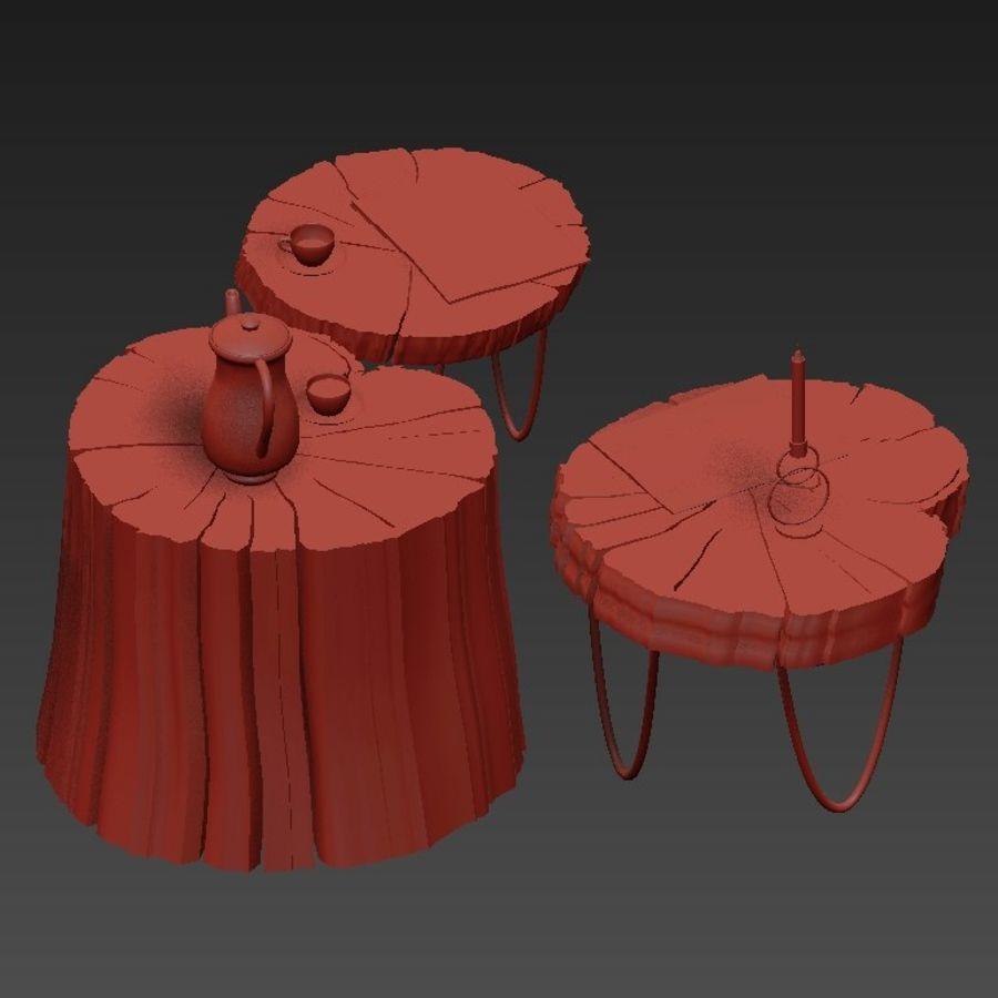 석판과 그루터기 커피 테이블 royalty-free 3d model - Preview no. 20