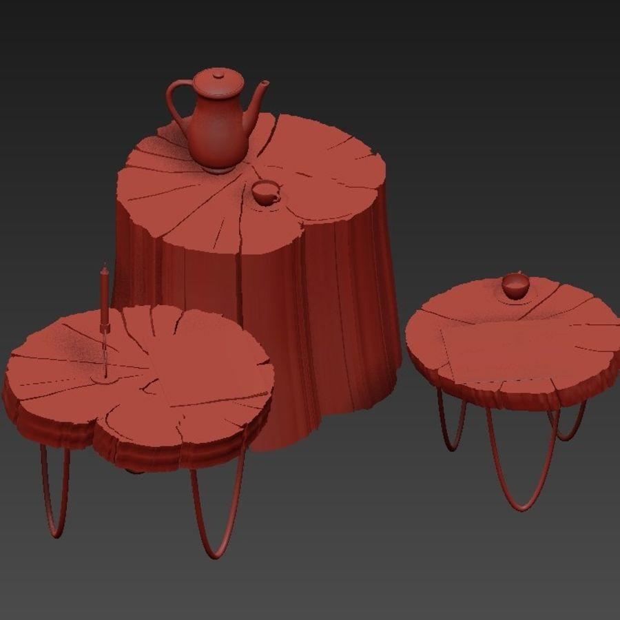 석판과 그루터기 커피 테이블 royalty-free 3d model - Preview no. 10