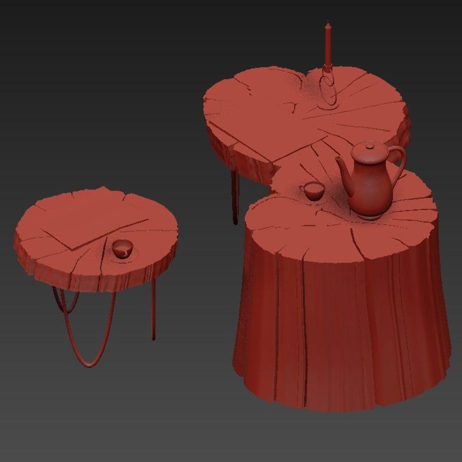석판과 그루터기 커피 테이블 royalty-free 3d model - Preview no. 29