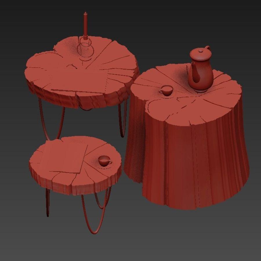 석판과 그루터기 커피 테이블 royalty-free 3d model - Preview no. 33