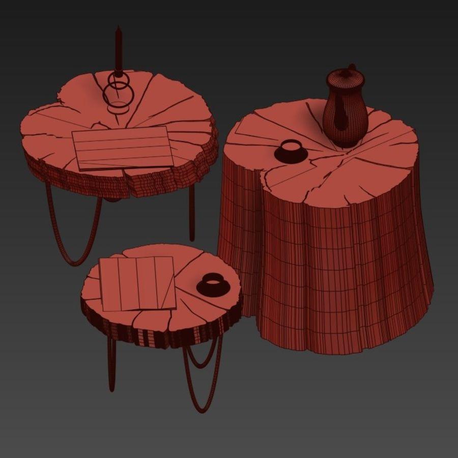 석판과 그루터기 커피 테이블 royalty-free 3d model - Preview no. 35