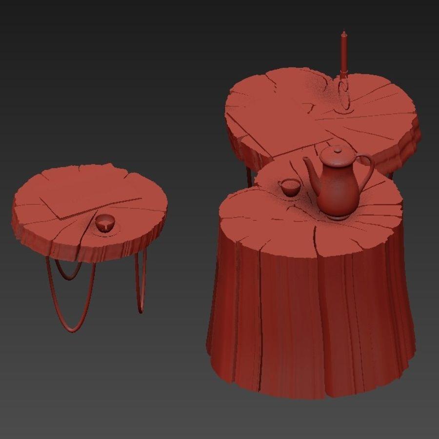 석판과 그루터기 커피 테이블 royalty-free 3d model - Preview no. 28