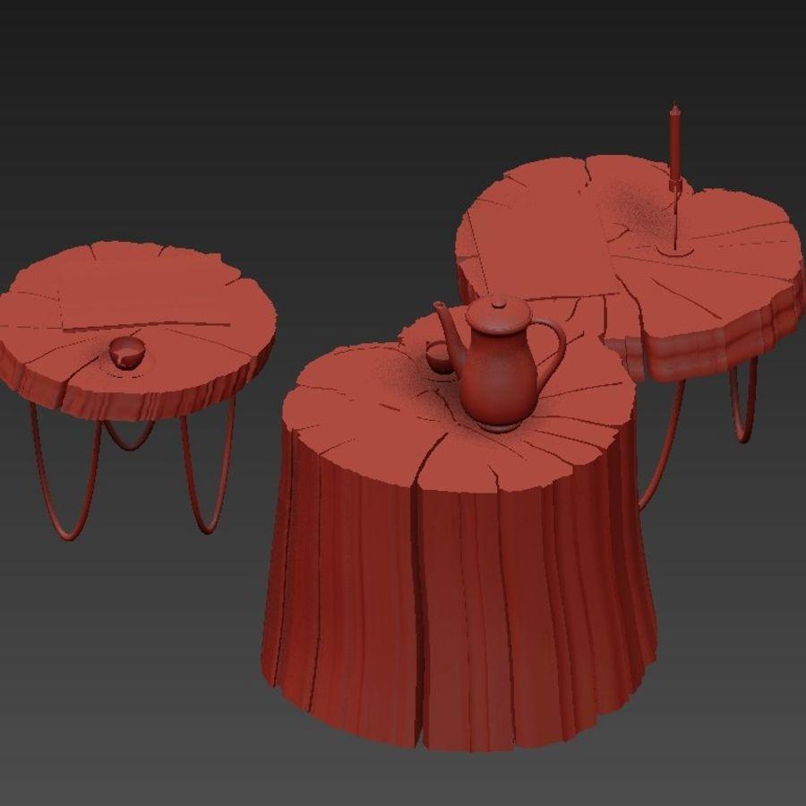 석판과 그루터기 커피 테이블 royalty-free 3d model - Preview no. 26