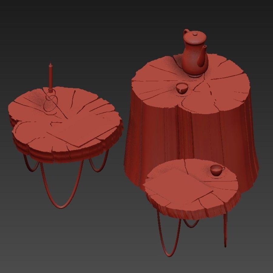 석판과 그루터기 커피 테이블 royalty-free 3d model - Preview no. 5
