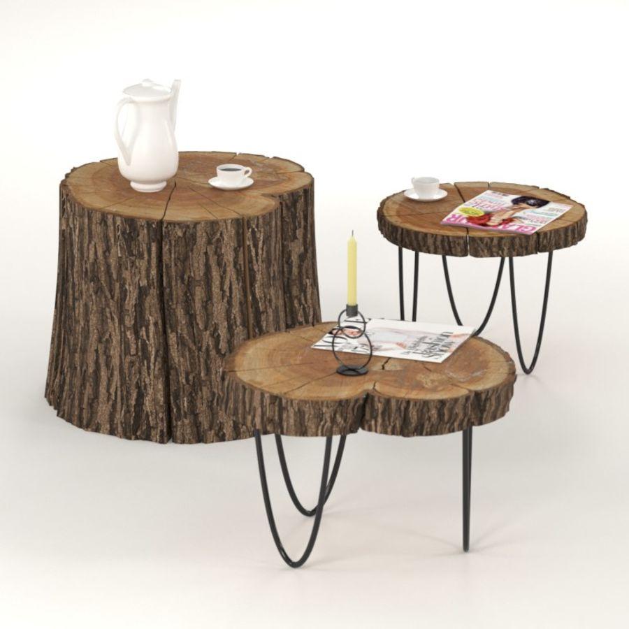 석판과 그루터기 커피 테이블 royalty-free 3d model - Preview no. 3