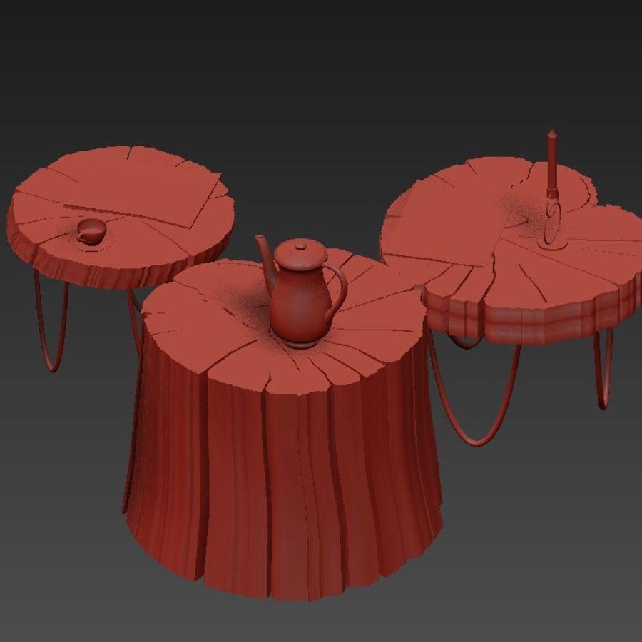 석판과 그루터기 커피 테이블 royalty-free 3d model - Preview no. 24