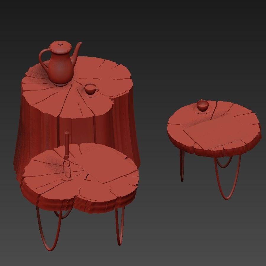 석판과 그루터기 커피 테이블 royalty-free 3d model - Preview no. 12