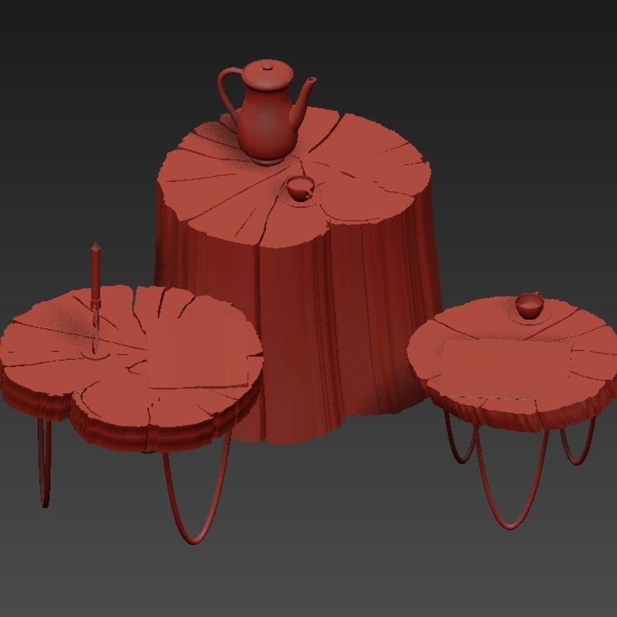 석판과 그루터기 커피 테이블 royalty-free 3d model - Preview no. 9