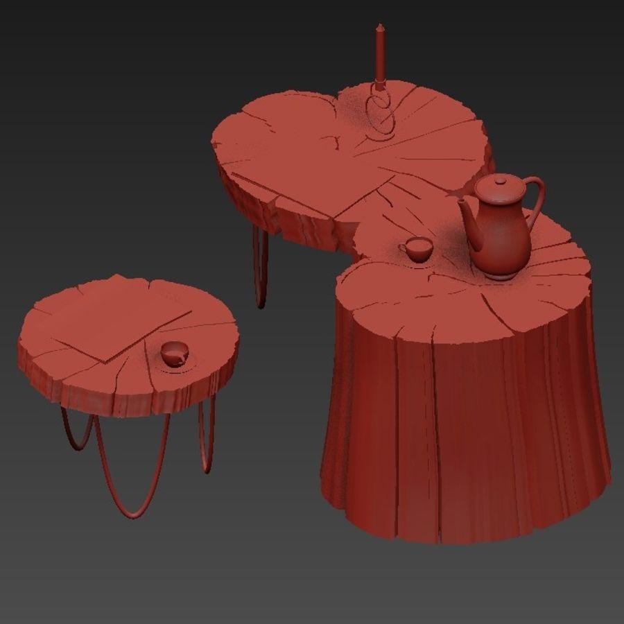 석판과 그루터기 커피 테이블 royalty-free 3d model - Preview no. 30