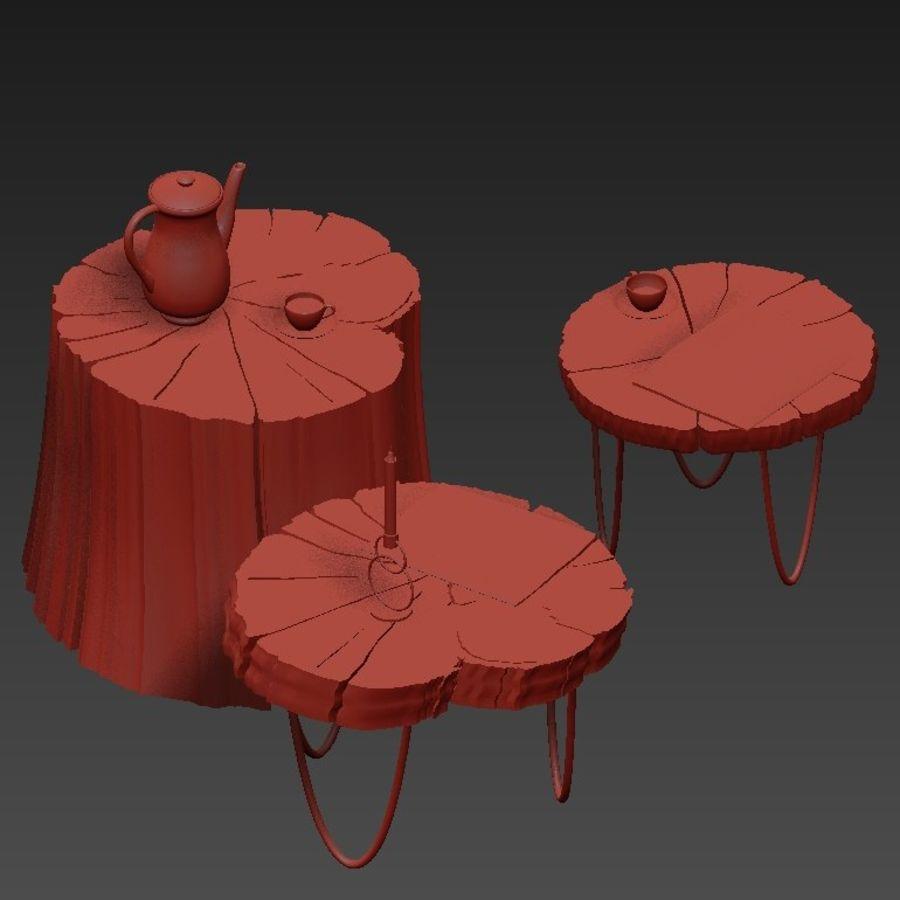 석판과 그루터기 커피 테이블 royalty-free 3d model - Preview no. 14