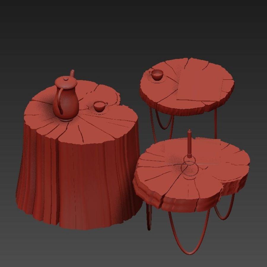 석판과 그루터기 커피 테이블 royalty-free 3d model - Preview no. 17