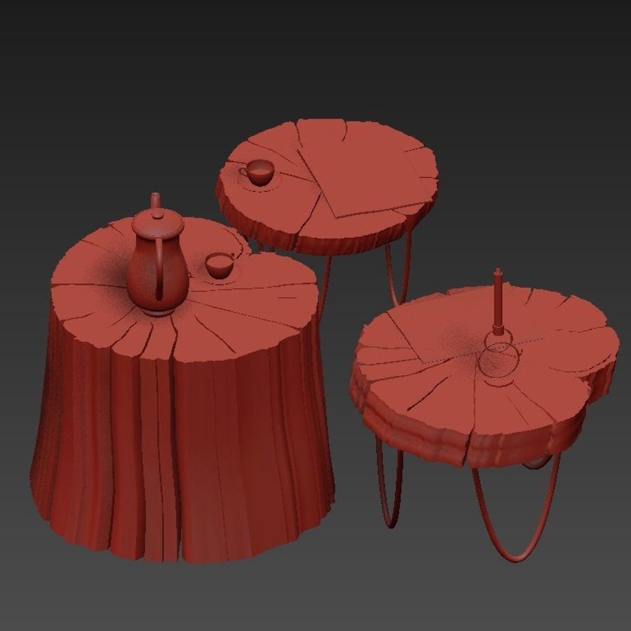 석판과 그루터기 커피 테이블 royalty-free 3d model - Preview no. 19