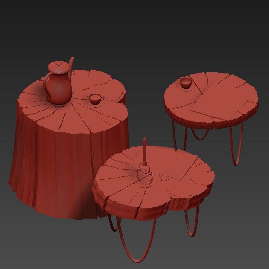 석판과 그루터기 커피 테이블 royalty-free 3d model - Preview no. 15