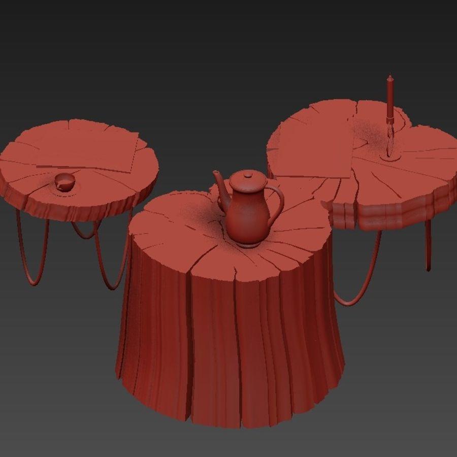 석판과 그루터기 커피 테이블 royalty-free 3d model - Preview no. 25