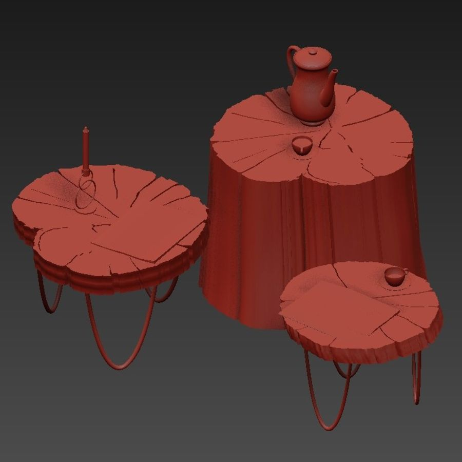 석판과 그루터기 커피 테이블 royalty-free 3d model - Preview no. 6