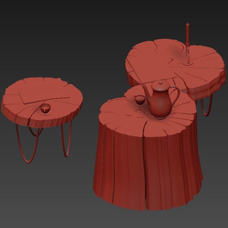 석판과 그루터기 커피 테이블 royalty-free 3d model - Preview no. 27