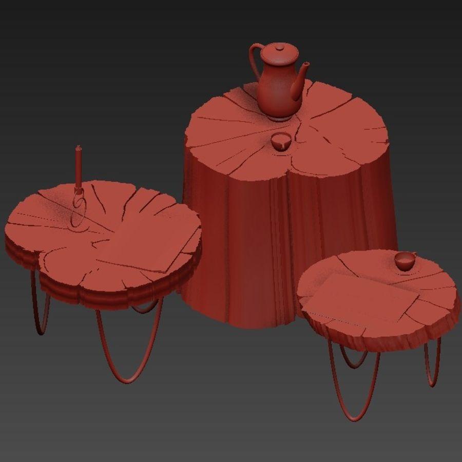석판과 그루터기 커피 테이블 royalty-free 3d model - Preview no. 7