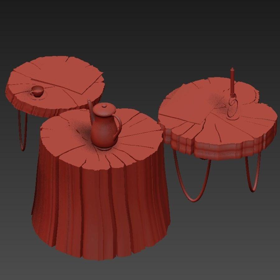 석판과 그루터기 커피 테이블 royalty-free 3d model - Preview no. 23
