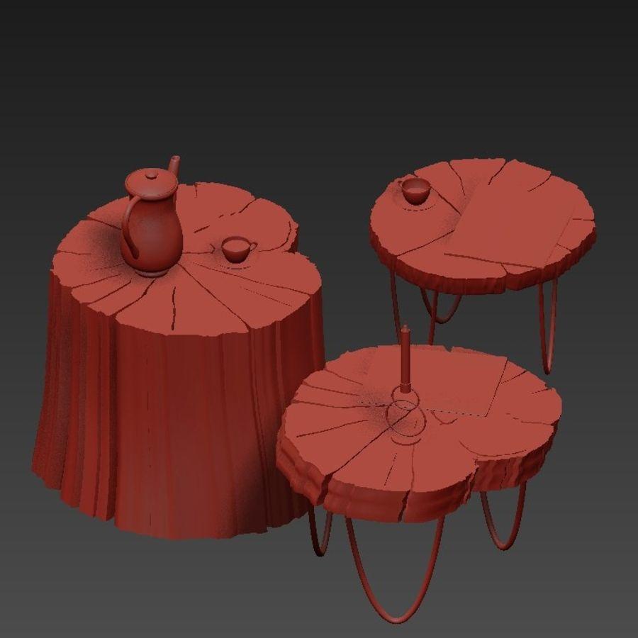 석판과 그루터기 커피 테이블 royalty-free 3d model - Preview no. 16