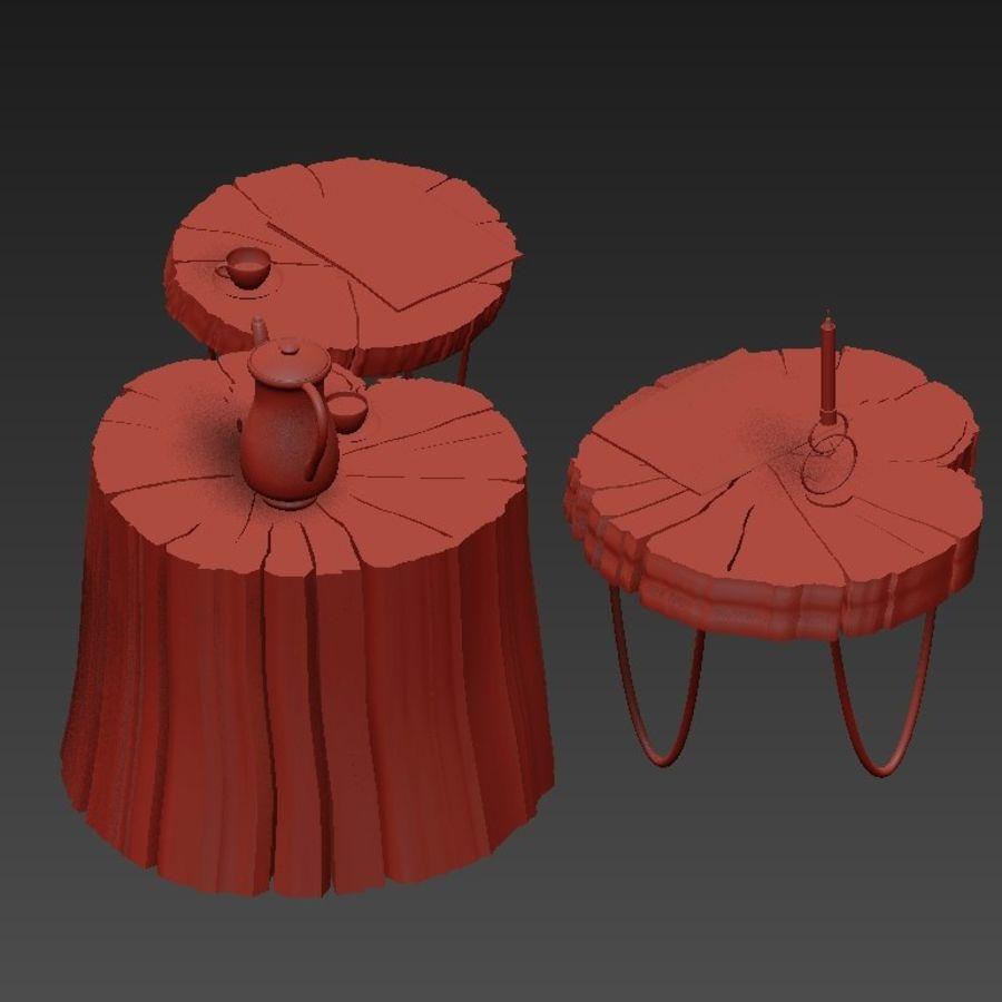 석판과 그루터기 커피 테이블 royalty-free 3d model - Preview no. 21