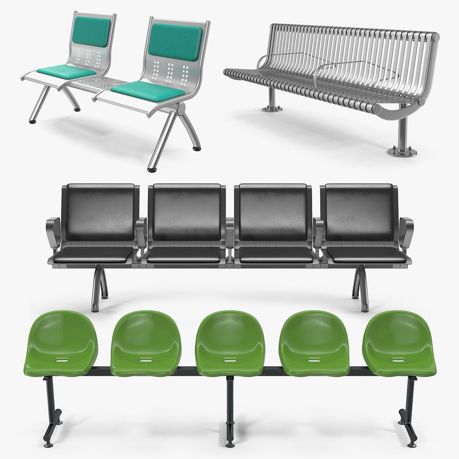 Waiting Chairs 6D Models Collection 6D Model $69 - .max .obj .ma