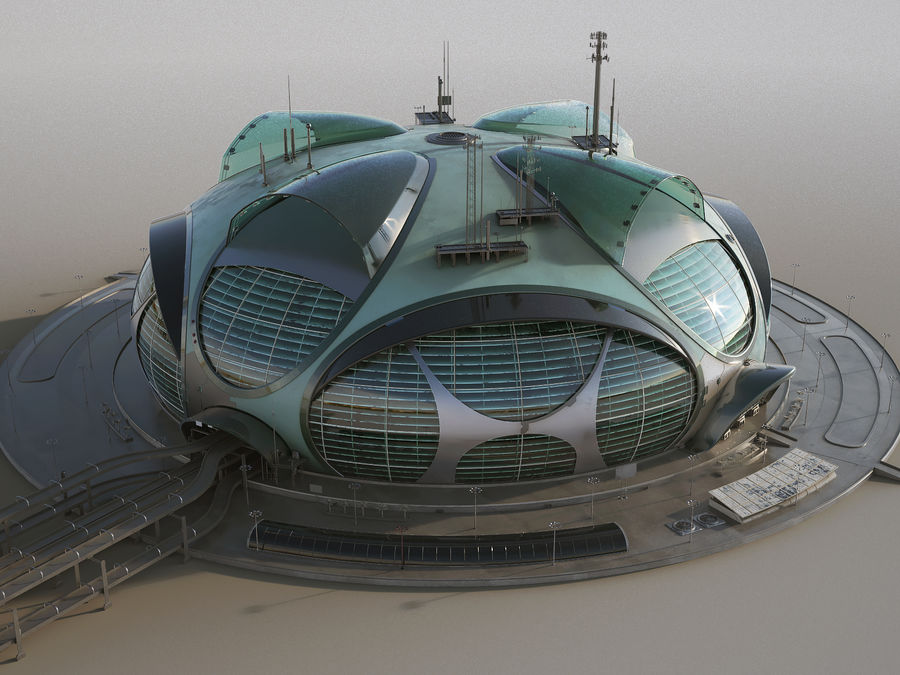 Sci-Fi Buildings royalty-free 3d model - Preview no. 6
