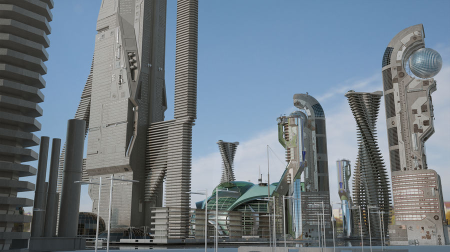 Sci-Fi Buildings royalty-free 3d model - Preview no. 2